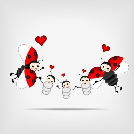 mums: mariquitas felices, padres e hijos de los �rboles Vectores