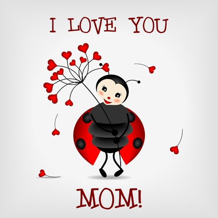 ladybug cartoon: cute ladybug holding red flower with text I LOVE YOU, MOM