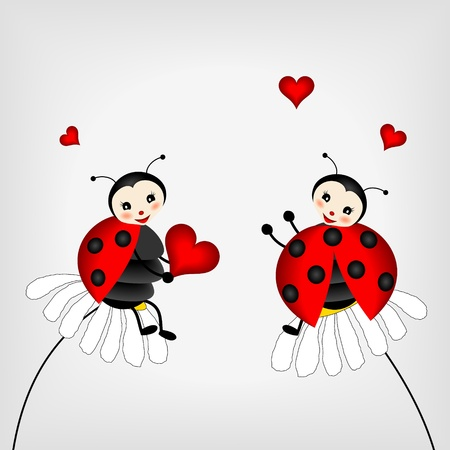 poppet: two ladybirds sitting on white flowers Illustration