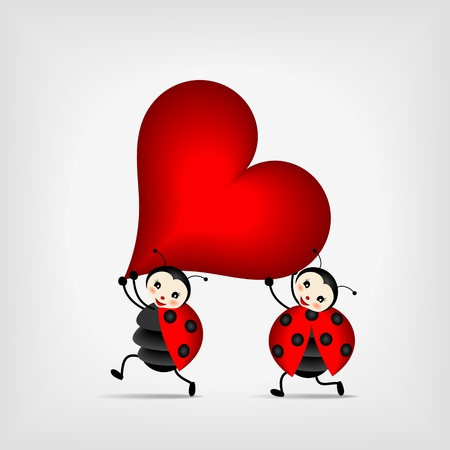 two happy ladybugs running with big red heart