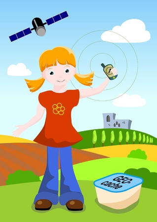 girl holding GPS navigator and geocache with landscape and medieval castle in background Illustration