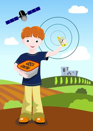 boy holding GPS navigator and geocache with landscape and medieval castle in background Vector
