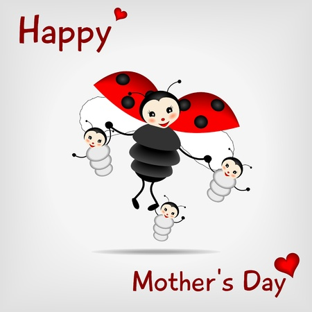 mothers day background: coccinella madre con tre bambini e MADRE FELICE testo Vettoriali