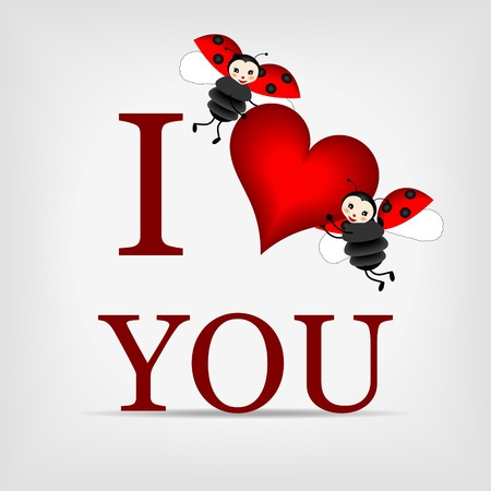 two happy ladybugs holding big red heart with text I LOVE YOU Vector