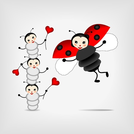 mother ladybug with three babies on ray background - vector illustration