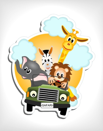 giraffe, elephant, zebra and lion driving green car illustration Vector