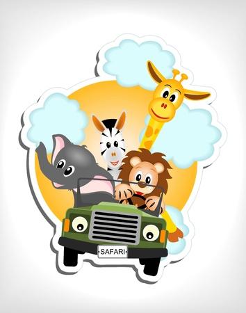 jirafa, el elefante, la cebra y el león de conducción ilustración coche verde Ilustración de vector
