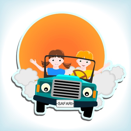 people traveling: boy and girl in blue car with and sun - kid illustration