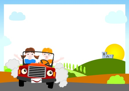people travelling: kid background - boy and girl in red car with medieval castle and sun