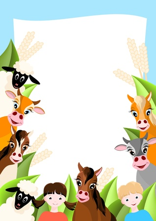 background with two children, sheep, cows and horses,  farm animals illustration Vector