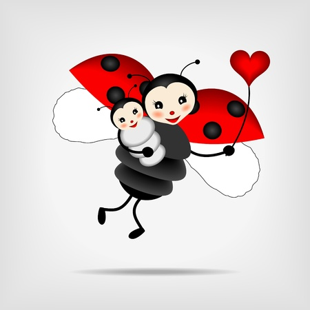 ladybug cartoon: mother ladybug with her baby and red heart illustration