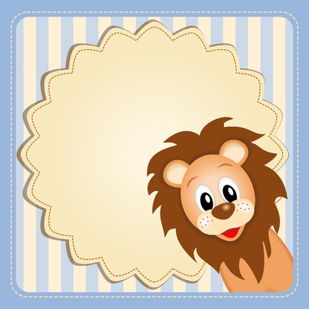 Illustration of cute young lion on decorative background - birthday invitation