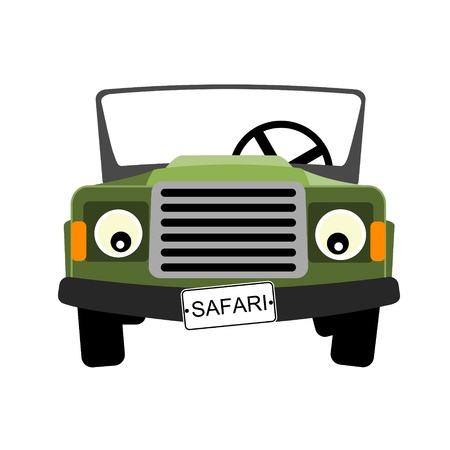 green safari car illustration