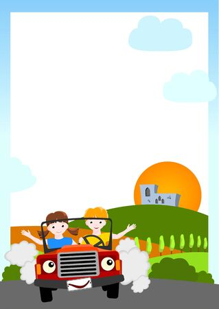people travelling: kid  background - boy and girl in red car