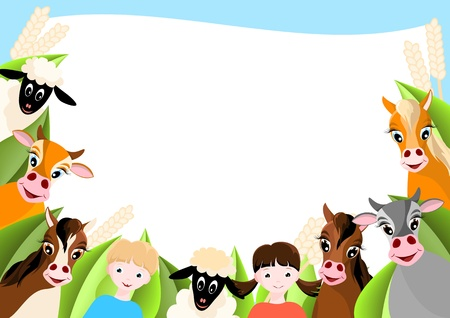 background with two children, sheep, cows and horses Vector