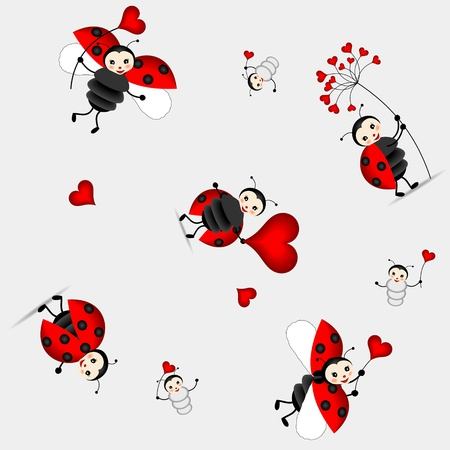 seamless background for children with beautiful ladybug and red hearts Vector