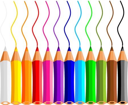 collectie van kleurpotloden op witte achtergrond Vector Illustratie