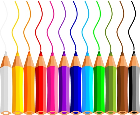 collection of crayons on white background Illustration