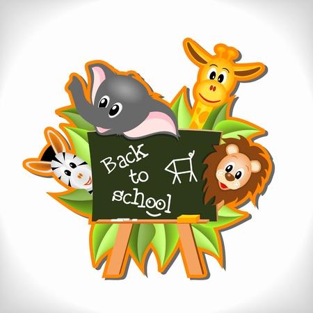 bebe a bordo: elefante de dibujos animados poco, jirafas, leones y cebras con pizarra y el texto Volver a la escuela - ilustraci�n vectorial