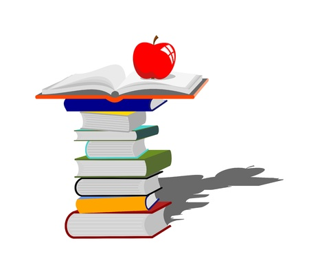 bookworm: stack of books with red apple - education concept -vector illustration