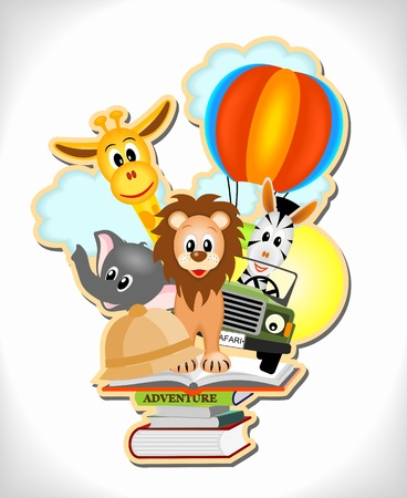 wild animals, hot air balloon and car with adventure books Vector