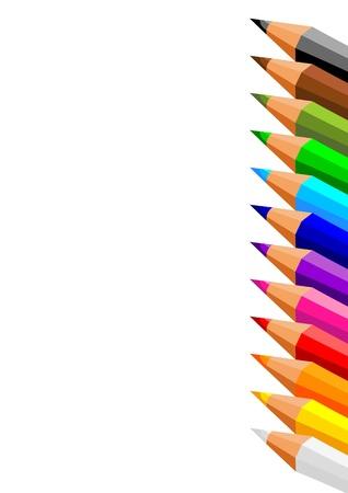 collection de crayons de couleur sur fond blanc