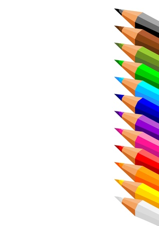 suppliers: collection of crayons on white background Illustration