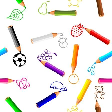 seamless - crayons de couleur avec des griffonnages sur fond blanc - vecteur