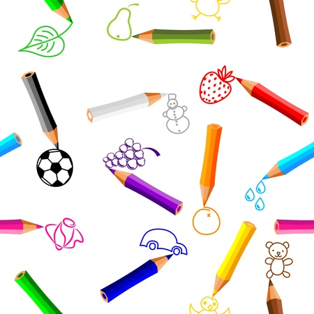 coloured pencil: seamless pattern - crayons with doodles on white background - vector