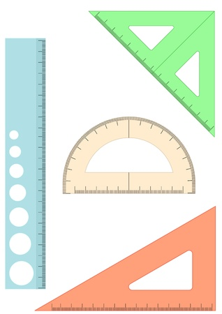 square ruler: set of four plastic school rulers on white background Illustration