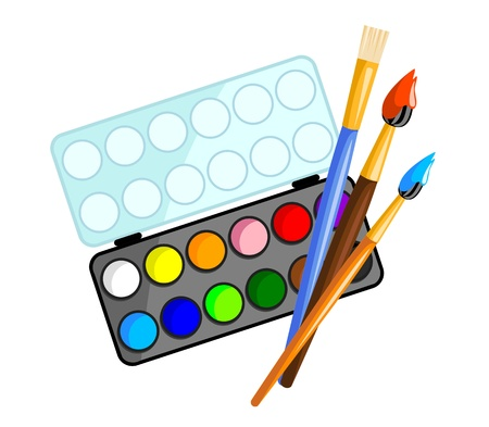school watercolors with three brushes on white background - vector illustration Stock Vector - 13293741