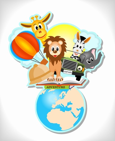 cartoon earth: wild animals, hot air balloon, book and car with earth Illustration