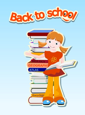 girl with books  and text  back to school , education concept - vector illustration Vector