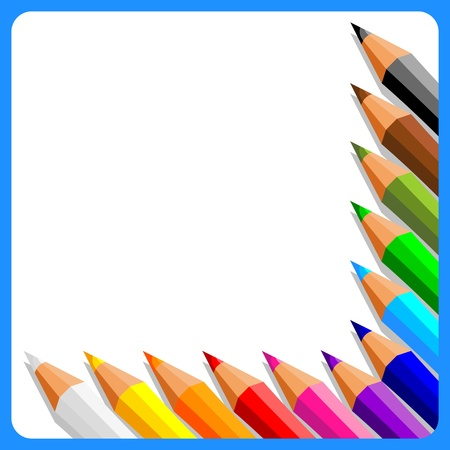 colored pencils: collection of crayons on white background in blue frame - vector illustration
