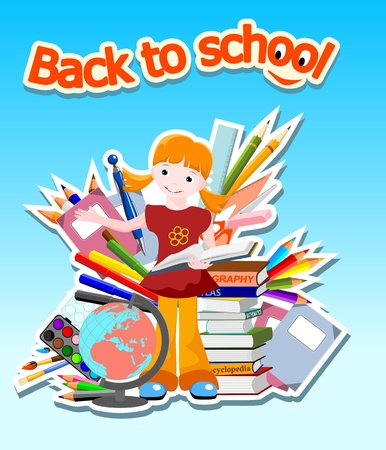 bookworm: girl with suppliers on green background, with text  back to school  - vector illustration
