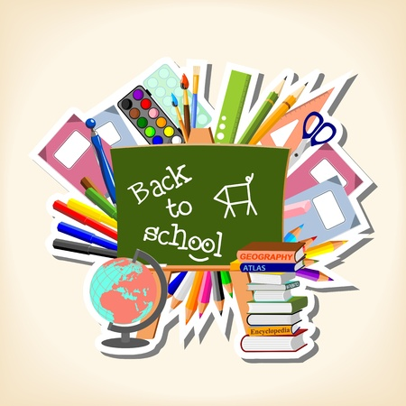 back to school: conceptual illustration of suppliers and blackboard with text  Back to school  Illustration