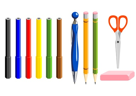 suppliers: markers, ballpoint, pencils, rubber and scissors on white background