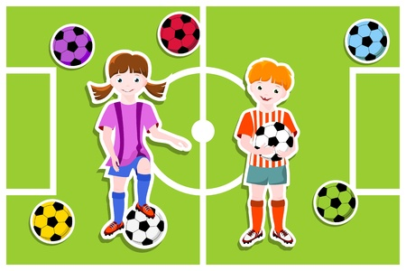soccer pitch: young football players with ball,  football  soccer  theme - vector illustration