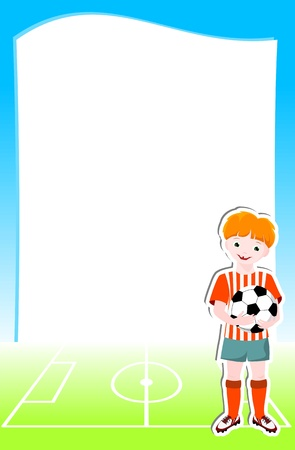 young football player with ball, background with football  soccer  theme - vector illustration Stock Vector - 13507759