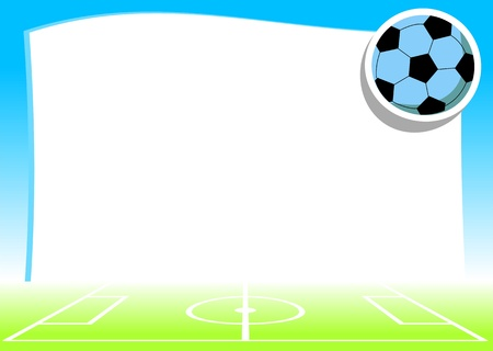 man in field: empty background with pitch and ball -  football  soccer  theme - vector illustration