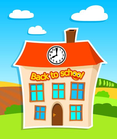 cartoon clock: illustration of school building with text  back to school  in summer landscape - vector illustration Illustration
