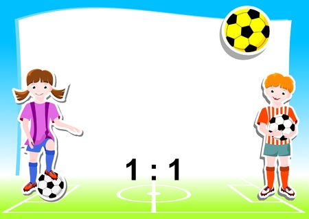 sporty: young football players with ball, background with football  soccer  theme - vector illustration
