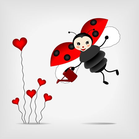 poppet: cute ladybug with sprinkler and red abstract flowers - vector illustration Illustration