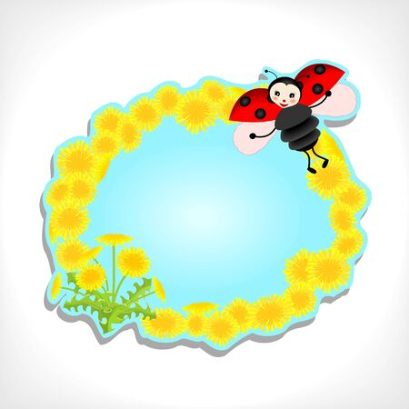 background with cute ladybug and dandelion - vector illustration