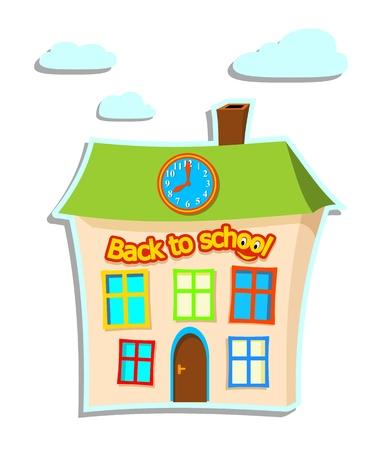 the school building: ilustraci�n de la construcci�n de la escuela con el texto de nuevo a la escuela en el fondo blanco - ilustraci�n vectorial