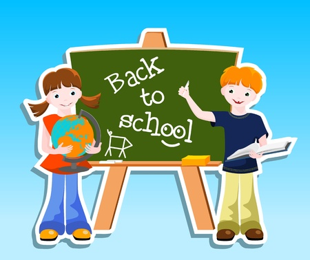 boy and girl  with blackboard and text Back to school - vector illustration Stock Vector - 13558236