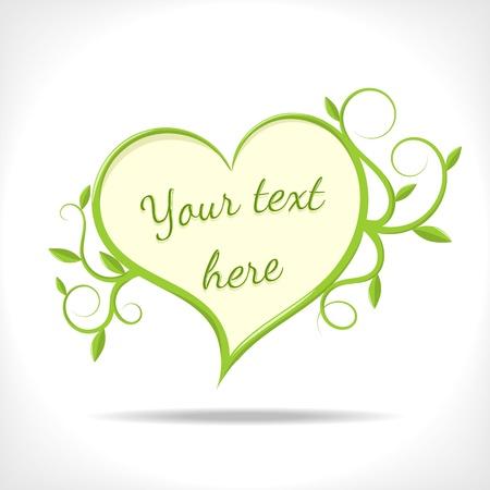 bloemen backrgound - hart met groene takjes op een witte achtergrond - vector afbeelding