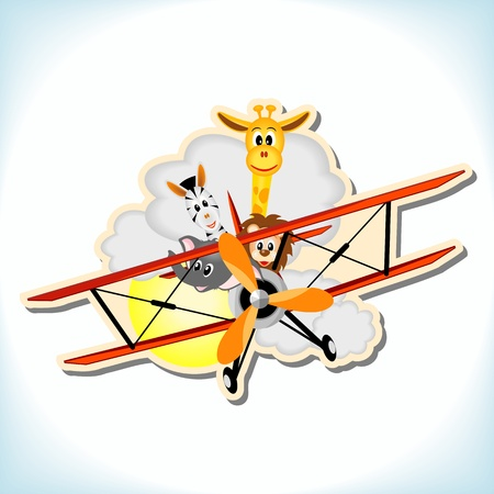 biplane: giraffe, elephant, zebra and lion in red biplane - vector illustration