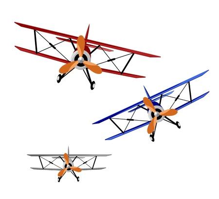 aerei: biplani rossi, blu e grigio su sfondo bianco - illustrazione vettoriale