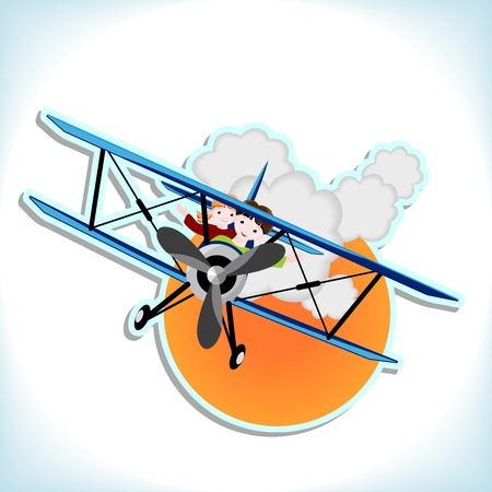 boy and girl flying in blue biplane - vector illustration Vector